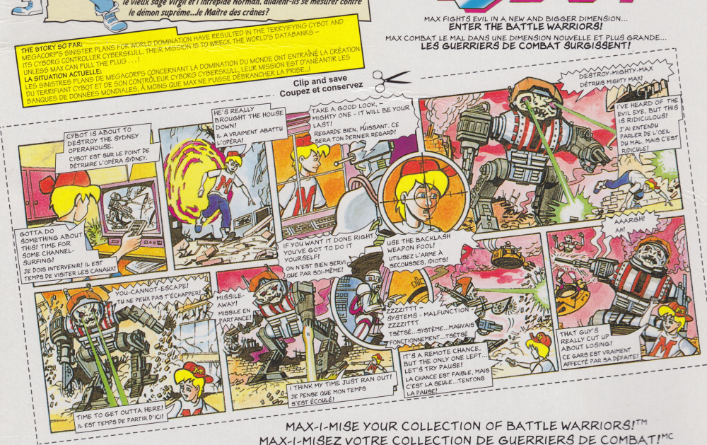Mighty Max Shuts Down Cybot Playset Comic Card